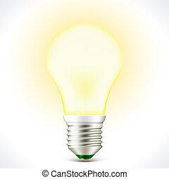 illuminato, bulbo, energia, risparmio, lampada