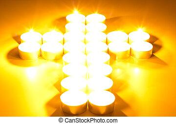 illuminato, candele, croce