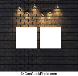 illuminato, cornice, su, wall., scuro, vuoto, mattone, illustrating., beffare, 3d