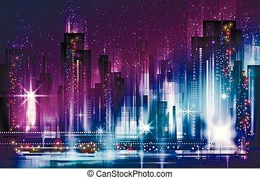 illuminato, costruzioni, cityscape, notte, strada