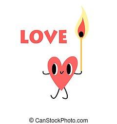 illuminato, cuore, fiammifero