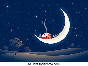 illuminato dalla luna, natale, notte