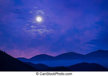 illuminato dalla luna, notte, montagne, sopra