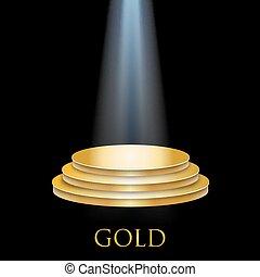 illuminato, dorato, podio
