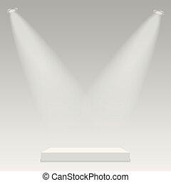 illuminato, luce, rotondo, fondo., podio, vector., trasparente, palcoscenico
