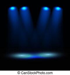illuminato, palcoscenico, vettore, sagoma
