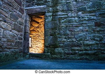 illuminato, porta, antico, castello