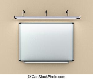 illuminato, render, parete, lampada, asse, appendere, pennarello, 3d