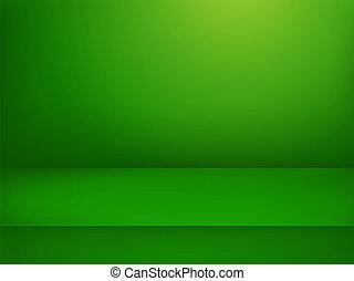 illuminato, stage., vettore, verde, pubblicità, sagoma, illustration.