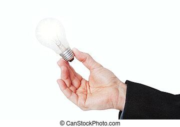 illuminato, suo, mano., fondo., lampada, bianco