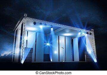 illuminazione, concerto, palcoscenico