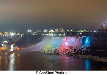 illuminazione, luce, di, americano falls, niagara