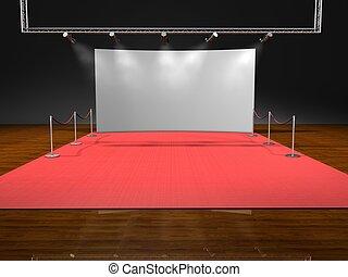 illuminazione, nero rosso, fondo, palcoscenico
