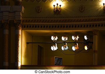 illuminazione, palcoscenico, teatro, searchlights
