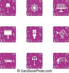 Illumine icons set, grunge style - Illumine icons set....