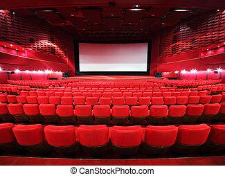 illuminer, rangées, grand, cinéma, chaises, confortable, écran, rouges, salle, vers