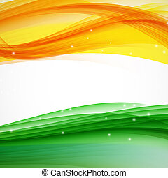 illus, abstratos, branca, verde, onda, laranja, experiência.
