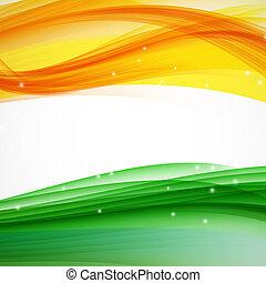 illus, astratto, bianco, verde, onda, arancia, fondo.