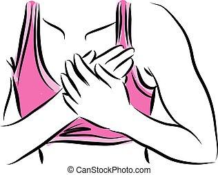 illus, bröstkorg, kvinna, smärta, fitness