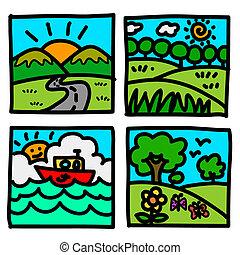 illus, cartoon., prospekt, ręka, natura, zaciągnąć