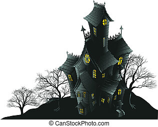 illus, effrayant, hanté, arbres, maison