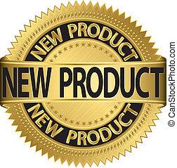 illus, etichetta, dorato, prodotto, nuovo