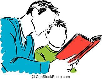 illus, livre, père, lecture, fils