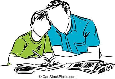 illus, père, devoirs, fils