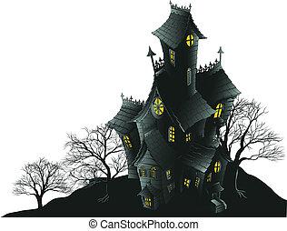 illus, straszliwy, nawiedzany, drzewa, dom