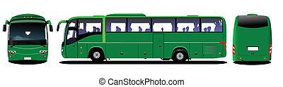 illus, vecteur, autobus ville, road.