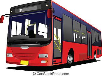 illus, vektor, stad buss, road.