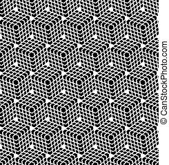 illusion., šestiúhelník, seamless, pattern., 3
