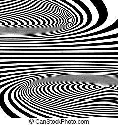 illusion., パターン, 光学, 抽象的, バックグラウンド。, 渦巻