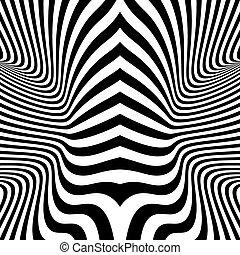 illusion., パターン, 光学, 黒, バックグラウンド。, 白
