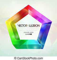 illusion., 不可能, ベクトル, figure.