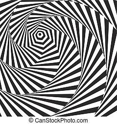 illusion., branca, óptico, pretas