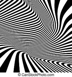 illusion., modello, ottico, nero, fondo., bianco