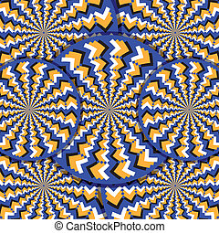 Illusion-O motion illusion - Patterned disks rotate in ...