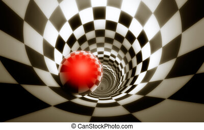 Illusion of freedom (predeterminmation). Red ball in a chess...