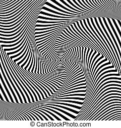 Illusion of rotation and torsion movement. Abstract op art...