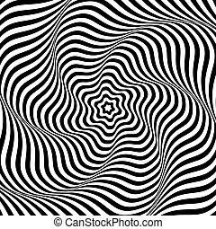 Illusion of wavy rotation movement. Abstract op art...