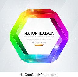 illusion., omöjlig, färgrik, figure.