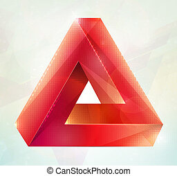 illusion., omöjlig, vektor, figure.