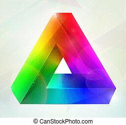 illusion., omöjlig, vektor, object.