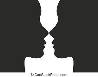 illusion optique, faces