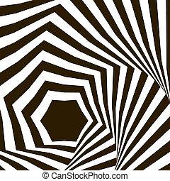 illusion., optique, noir, art, fond, op, vecteur, blanc