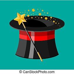 illusionista, cilindro, cappello, magico, bastone