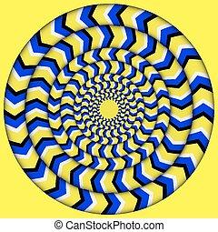 illusions, cycle., perpétuel, hypnotique, illusion,...