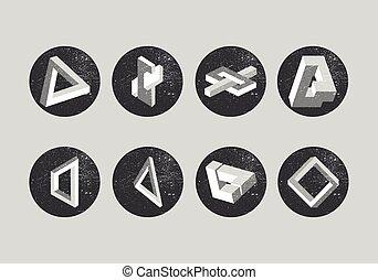 illusions., set, driehoek, penrose, gedaantes, labels., vector, onmogelijk, objects., geometrisch, optisch