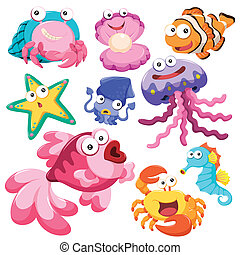 illusration, mer, dessin animé, collection, animal